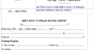 Huong dan lap bien ban vi pham hanh chinh