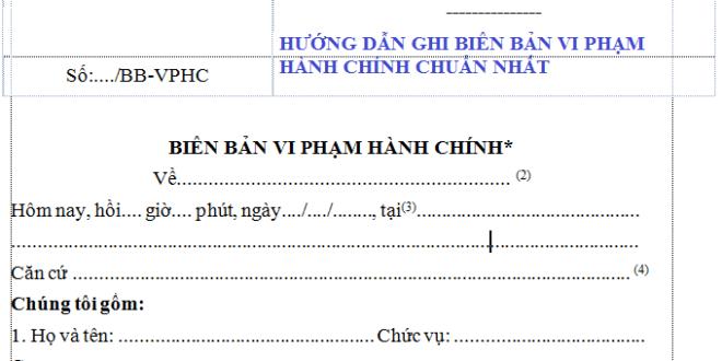mẫu Biên bản để ghi lời khai của những cá nhân/tổ chức có liên quan đến vụ việc vi phạm hành chính n