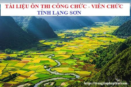 Bộ câu hỏi ôn thi công chức hành chính tỉnh Lạng Sơn 2021